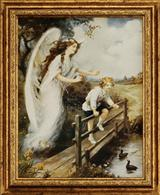 Guardian Angelsof The Bridge Framed Print (Boy)