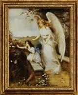 GUARDIAN ANGELS OF THE BRIDGE FRAMED PRINT (GIRL)
