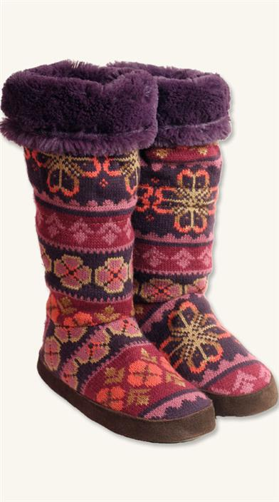 FAIRISLE FLOWER SLIPPER BOOTS