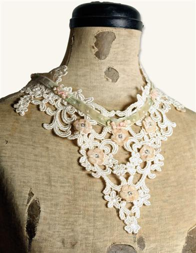 VENETIAN LACE BIB NECKLACE IVORY