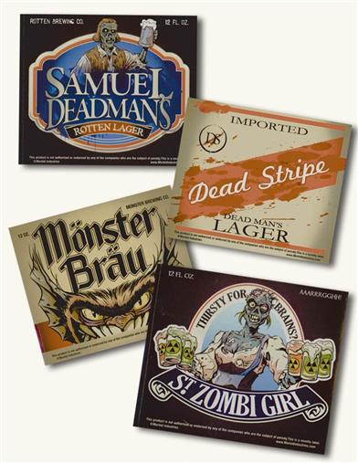 HALLOWEEN BEER BOTTLE LABELS (SET OF 24)
