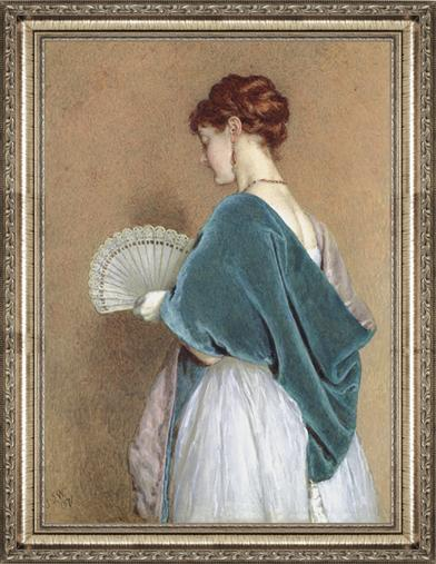 WOMAN WITH A FAN FRAMED PRINT