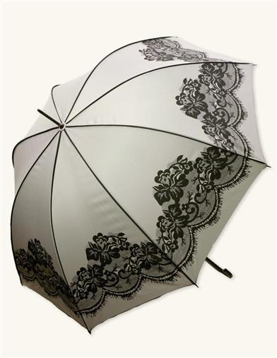 CAN-CAN LACE UMBRELLA (BLACK & BEIGE LACE PATTERN)