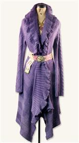 PURPLE RUFFLE CARDIGAN