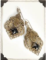 BRONZE FILIGREE WITH BLACK STONE