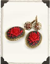 RED ROSE CAMEO EARRINGS