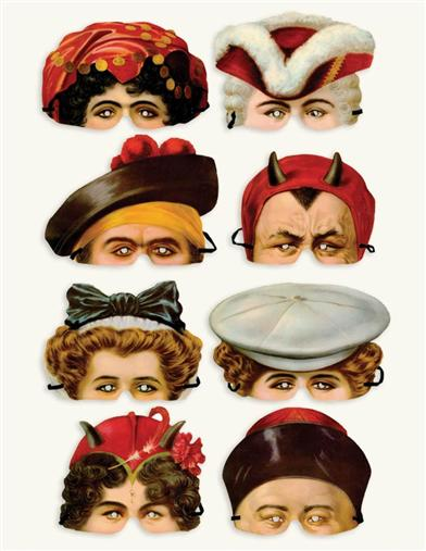 EDWARDIAN PAPER MASKS (SET OF 8)