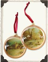 WINTER PASTORALE DIORAMA ORNAMENTS (PAIR)