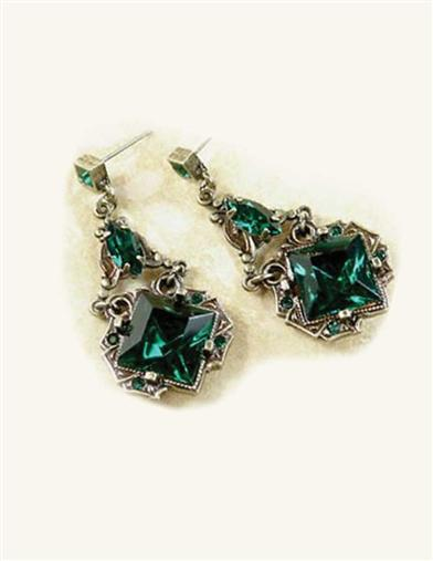 Victorian Costume Jewelry to Wear with Your Dress Dubliner Faux Emeralds Earrings $19.99 AT vintagedancer.com