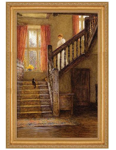 The Staircase Framed Print (Gold)