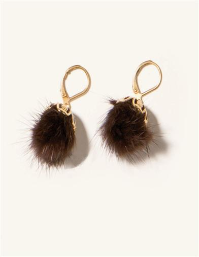MINK PUFF BALL EARRINGS