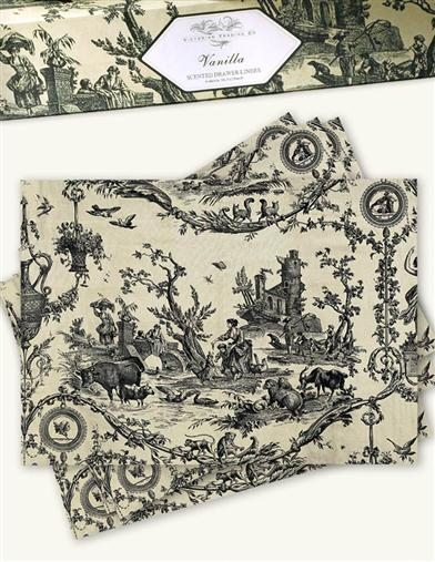 PERFUMED DRAWER LINERS (FRENCH TOILE - VANILLA)