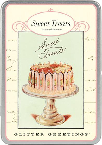 SWEET TREATS GLITTER POSTCARDS IN TIN