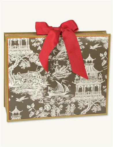 CHINOISERIE TOILE BRONZE ACCORDIAN FILE