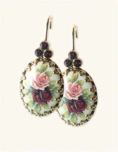 RUBY'S OLD ROSES FILIGREE FAN EARRINGS