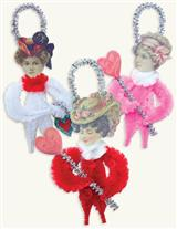 VALENTINE GIRLS CHENILLE ORNAMENTS (SET OF 3)
