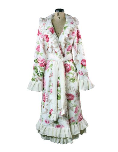 New 1950s Vintage Lingerie & Sleepwear, Pinup Styles Pampered Princess Ruffled Rose Robe $79.95 AT vintagedancer.com