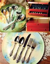 CUTLERY CABINET, SERVING SET, & CUTLERY