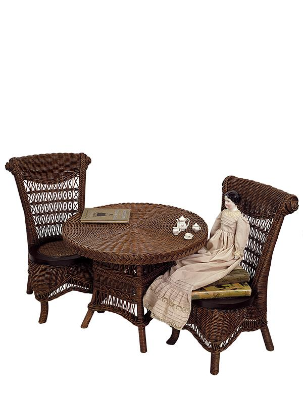 Childrens Wicker Table Amp Chairs Brown