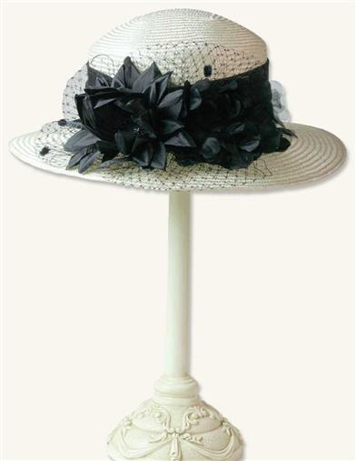 Edwardian Style Hats, Titanic Hats, Derby Hats Nightblooming Camellia Vintage Roller Hat $69.99 AT vintagedancer.com