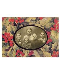 Set Of 6 Holly Photo Surround Greeting Cards