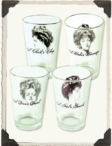 GIBSON GIRL JUICE GLASSES WITH WITTY QUIPS