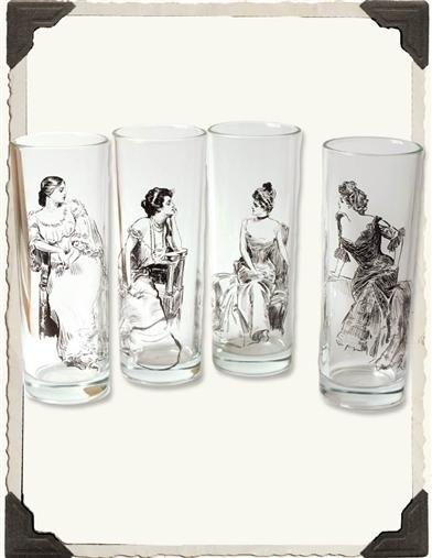 GIBSON GIRL HIGHBALL GLASSES WITH WITTY QUIPS