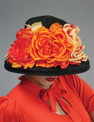 LOUISE GREEN BLAZE ROSES HAT