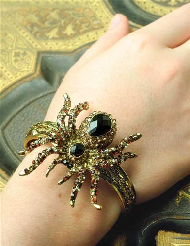 Steampunk Accessories | Gloves, Goggles, Gears, Sunglasses Tarantula Bracelet $29.95 AT vintagedancer.com