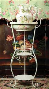 WASH STAND WITH WHITE ROSES BOWL & PITCHER