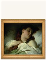 SLEEPING WOMAN FRAMED PRINT