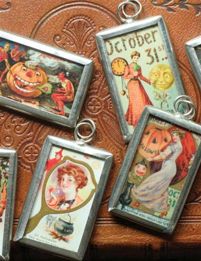 TINY HALLOWEEN POSTCARD LEADED PENDANTS