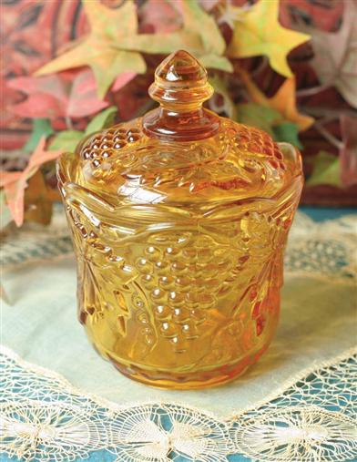 AMBER GLASS CANDY JAR