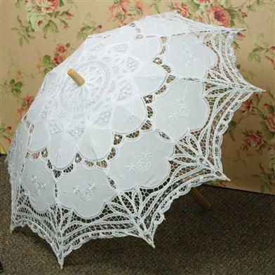 Battenberg Lace Parasol (White)
