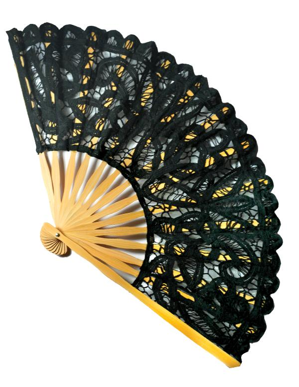 black lace fan Intricate lace fan from brolliesgalore, bamboo ribs, black lace is backed with a  fine gauze and has a tassel to add elegance.