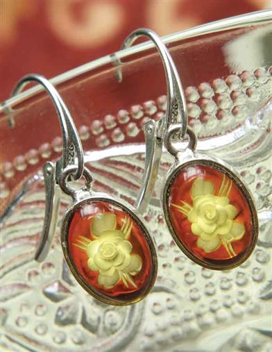 AMBER CAMEO ROSE EARRINGS