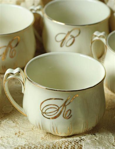GOLDLEAF INITIAL TEACUP