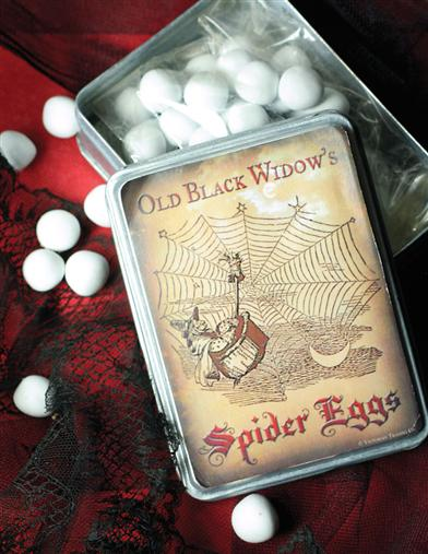 'SPIDER EGGS' CHOCOLATE MINTS IN WIDOW'S TIN