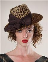 LOUISE GREEN LEOPARD FEDORA HEADBAND