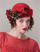 LOUISE GREEN SCARLET MIRANDA PILLBOX HAT