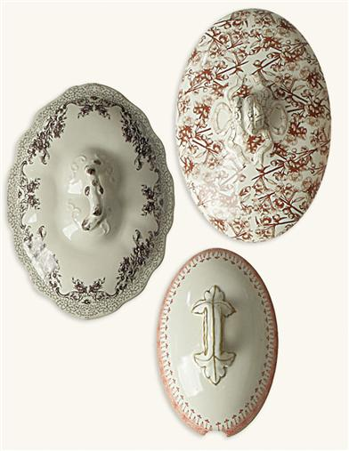 BAVARIAN STONEWARE TUREEN LIDS (SET OF 3)