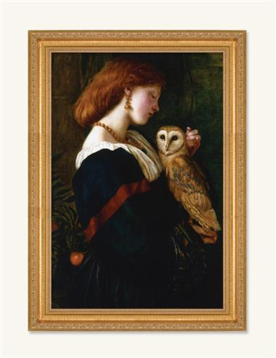 THE OWL FRAMED PRINT (GOLD - 16 X 12 IN)