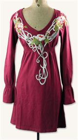 BURGUNDY EMBROIDERED DRESS