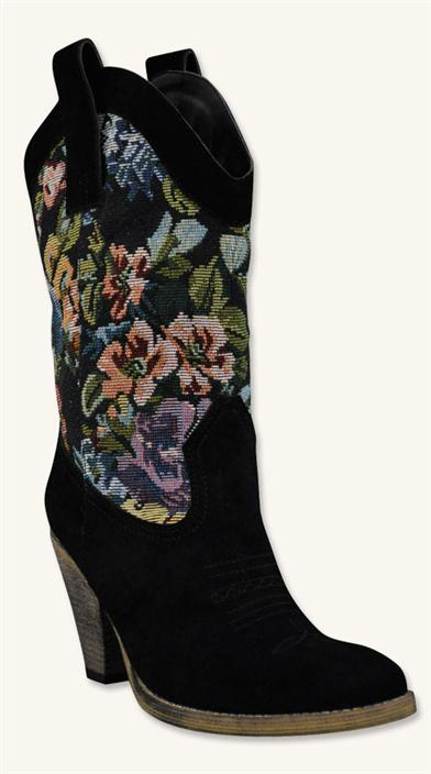 TAPESTRY COWGIRL BOOTS BLACK