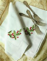 EMBROIDERED HOLLY LINEN NAPKINS