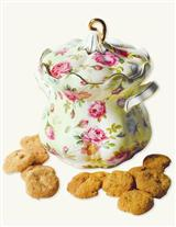 BUTTER PECAN COOKIES IN GILDED CHINTZ BISCUIT JAR