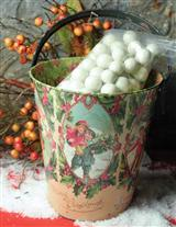 Vintage Holiday Bucket Of Snowballs