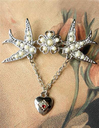 TWO LOVES, ONE HEART CHATELAINE BROOCH