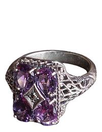 AMETHYST CRYSTAL FILIGREE RING