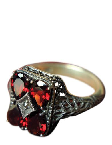 Garnet Filigree Ring